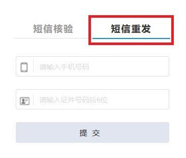 Formular zum erneuten Versenden der SMS auf der Webseite des MIIT